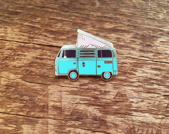 Camper Van Enamel Pin, Explore Pin, Volkswagen Bus, Westfalia, Single Hard Enamel Pin with Butterfly Clutch