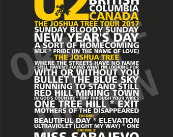 U2 - Joshua Tree Tour 2017 - BC Place Stadium, Vancouver, BC, Canada - 12th May 2017 - Set List Poster - All Tour Dates Available