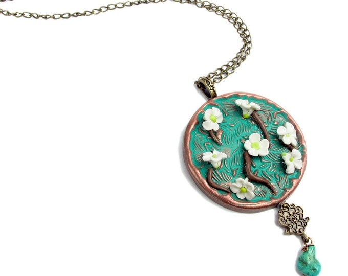 Handcrafted  Polymer Clay Cherry Blossom Pendant, Genuine Turquoise w Gunmetal Chain Necklace & Earring Set