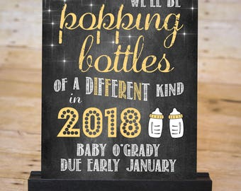 NEW YEAR BABY Pregnancy Announcement Chalkboard Sign, January Due Date Pregnancy Reveal, Popping Bottles, Printable