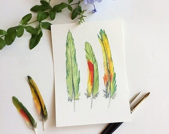 Yellow & green feathers watercolour art - original painting 5x7 inches - small artwork unique gift for him - Australian nature - feather art