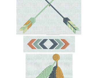 Instant Download Embroidery Machine  Designs, Crossed Arrows, Arrow, Chevrons, Feathers, Tribal Mod Elements 3 Designs PES Format