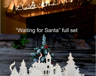 Christmas light Decorations Fireplace decor Christmas Mantle Christmas gifts Christmas Ornaments Window Decor Wooden candlestick