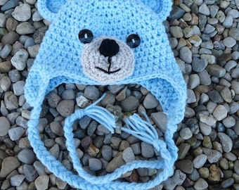 0-6 Months Teddy Bear Hat-- Blue