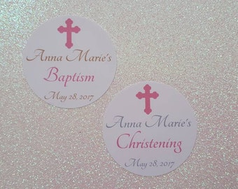 BAPTISM Stickers *CHRISTENING Stickers *Religious Cross Stickers *First Holy Communion Stickers *Pink/Gray/Gold Tone *2 inch  *Personalized