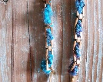 Friendship necklace,Textile necklace,Chain necklace,Woven necklace,Winter jewelry,Woolen jewelry,Sautoir necklace,Long necklace,Bijou doudou