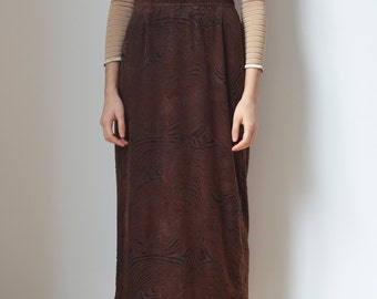 BROWN VELVET SKIRT -90s, grunge, gothic, long, maxi, clueless, festival, club kid, party, seapunk, psychedelic, 80s-