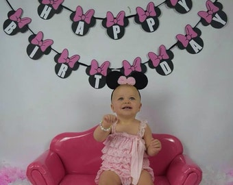 Minnie Mouse Happy Birthday Bunting, Garland, Banner Custom Colours