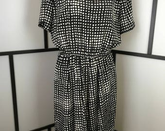Women's Vintage Dress, Black and White Casual Dress, Secretary Dress, Leslie Fay, Extra Large