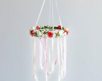 Red Flower mobile, Baby girl crib mobile, Hanging Mobile, Ceiling Mobile