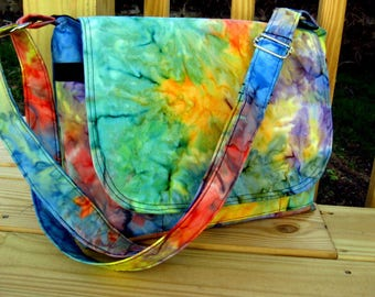 WOMEN'S MESSENGER BAGS, Cross Body Messenger Bag, Rainbow Tie Dye Bag, Handmade, Adjustable Strap, Made To Order