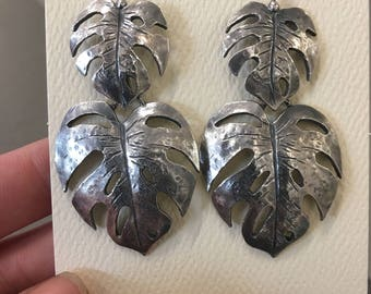 Large double drop silver palm leaf earrings
