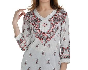 Ladies  Indian Hand craft / Hand embroidered Chikankari tunic  Kurtis/Top/Blouse/ beach cover boho  for women