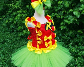 Robin tutu dress and hair bow SET/Robin and batman