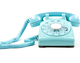 Meticulously Refurbished & Restored Vintage Western Electric Rotary Dial Phone in perfect working condition - Aqua Blue - Bespoke Piece