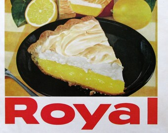 1961 Royal Lemon Pie Filling Ad - Lemon Meringue Pie Recipe - Retro 1960s Dessert Ideas