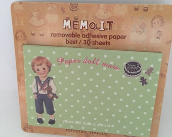 Vintage Boy & Teddy Bear - Paper Doll Mate Sticky Note Set - Kawaii stationery - Stocking Filler - Memo Pads - Planner Tabs - Memo Pad
