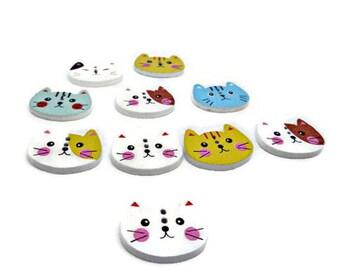 Cat buttons, animal buttons, children's buttons, kids buttons, pet buttons, sewing buttons, sewing supplies, cat face buttons, uk buttons