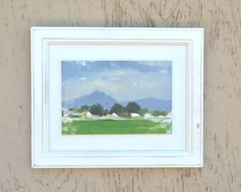 SUPERS / Framed Oil Painting / en plein air landscape / Arizona