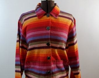 1980s rainbow colorful woven cotton lightweight jacket top blouse big buttons boxy fit XS-M pride button-up unisex patch pockets