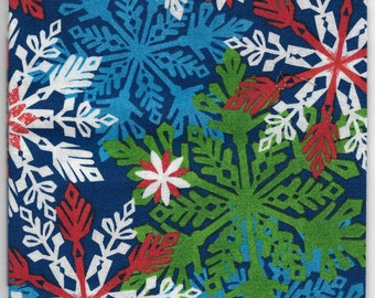New Multi Color Snowflakes on Blue 100% cotton fabric by the Fat Quarter