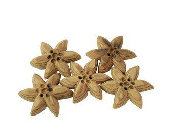 Wooden Alpine star shaped buttons   set of 5