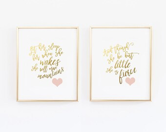 Gold and Pink Nursery Prints, Set of 2, Let her Sleep, And though she be but little she is fierce , Shakespeare Nursery Wall Art (1250-2)