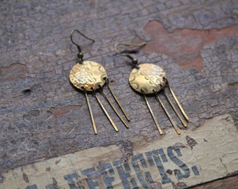 Vintage Bohemian earrings, bohemian earrings, boho dangle earrings, brass earrings, fringe earrings, rustic boho, gypsy earrings, tribal