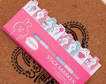 Rabbit Sticky Note Set - Pink (15 Sheets x 8 pcs) Korean Stationery Funny Sticky Notes Post It Note