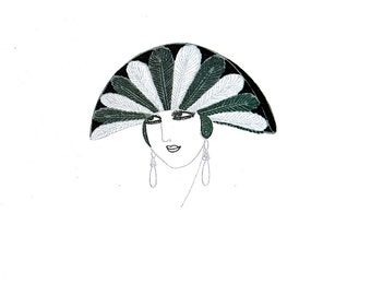 Erte Matted Print 1982 - FEATHER HAT CAP Plumes Lady with Black and White Feather Headdress  -  Art Deco Fashion Print Ready to Frame