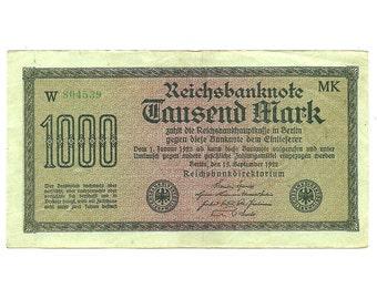 German Banknote, Reichsbanknote, 1000 Mark, 1922, Paper Money, Currency, European Change - Uncirculated