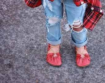 Red, The Kleopatras, sandals, leather sandals, baby shoes, brown sandals, boy moccs, boy shoes