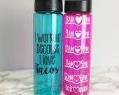 I workout because I love tacos water bottle - workout gift idea - hourly water tracker intake - funny workout food lover christmas gift idea