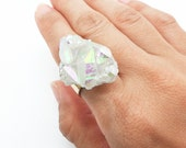 Angel Aura Crystal Ring, Aura Quartz Ring, Healing Crystals, Healing Crystal Jewelry