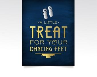 The ALICE . Treat Your Dancing Feet Flip Flops High Heel Wedding Sign PRINT or PDF . Navy Black & Gold Silver Art Deco Great Gatsby 1920