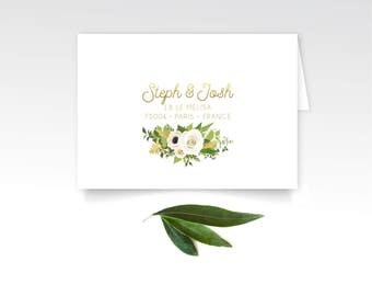 The JAYLA . RSVP Return Address Printing & Envelopes . Gold Calligraphy White Rose Poppy Anemone Eucalyptus Leaf Garland Fern Magnolia