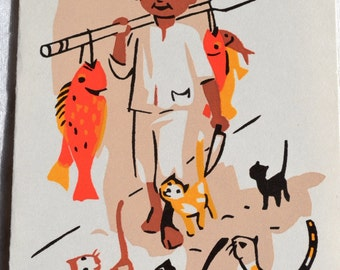 Vintage Stationery Note Card - Screen Printed Mexican Fisherman and Cats - Mid Century Blank