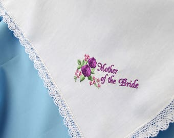 RESERVED_Mother of the bride handkerchief Wedding gift for mom from daughter gift for mother of the bride gift wedding handkerchief for mom