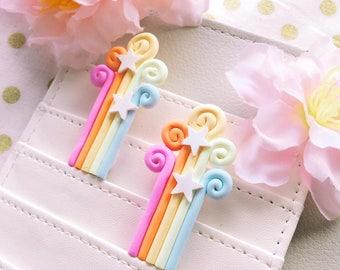 Kawaii Rainbow Swirls - Planner Clips