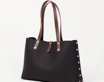 Felt Shoulder Bag, Felt Handbag; Black Bags & Purses, Shoulder Bags, Handbags, Felt Shoulder Bag
