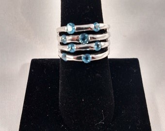 """14k White Gold """"Bubble"""" Ring with Blue Zircon"""