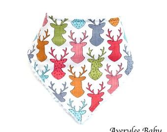 Adorable Bandana Baby Bib, Colorful Deer Bandana Bib, Deer Bib Baby Gift, Baby Shower, Baby Gift Idea, Deer Bandana Bib