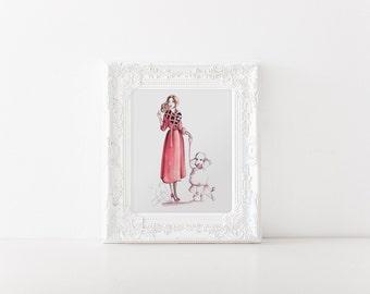 Fashion illustration, Fashion sketch, Fashion print, Fashion art, Girl fashion sketch, Girl fashion print, Girl fashion art, Pink wall art