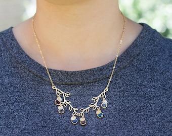 Birthstone Dainty Gold Silver Family Tree Charm Personalized Necklace Personalized Dainty Personalized Jewelry Personalized gift Women /4