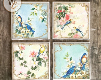 Shabby Chic Coasters,  Birds and Flowers on Ceramic Tile Coasters, Handmade Hot and Cold Bar Coasters, Gift For Her, Floral, Made To Order
