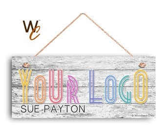 "Company Sign, Place Your Logo on Sign, Personalized 6""x14"" Sign, Custom Sign, Promote Business or Boutique, Rustic Wood Style, Made To Order"