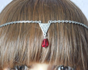 Pagan Wicca Spiral of Life Red Circlet Headdress Necklace