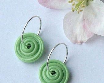 disk earrings, disk earrings glass, disk earrings lampwork, FULL CIRCLE, interchangeable earrings, handmade sterling silver earwires