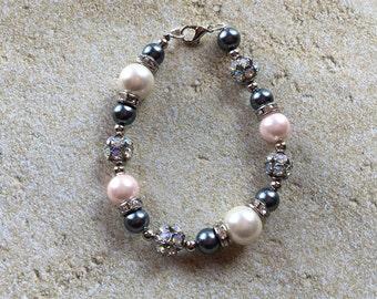 Gray and Pink Faux Pearl Bracelet,Bracelet, Beaded Bracelet, Beadwork Bracelet, Gift For Her