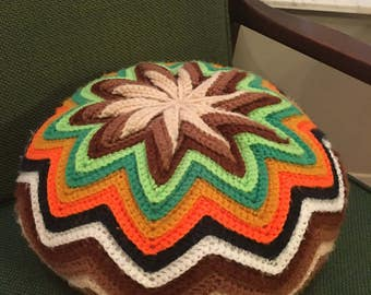 Groovy Vintage Handmade Chevron Crocheted Poof Pillow
